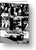 The Capital Of The World Greeting Cards - Looking Down BW3 Greeting Card by Scott Kelley