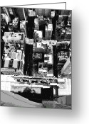 The Capital Of The World Greeting Cards - Looking Down BW8 Greeting Card by Scott Kelley