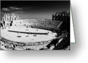 African Heritage Photo Greeting Cards - Looking Down On Main Arena Of Old Roman Colloseum El Jem Tunisia Greeting Card by Joe Fox