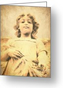 Guardian Angel Greeting Cards - Looking Down Greeting Card by Sophie Vigneault