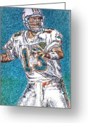 Miami Dolphins Greeting Cards - Looking Downfield Greeting Card by Maria Arango