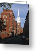 Paul Revere Greeting Cards - Looking East Towards the Old North Church Greeting Card by Brian M Lumley