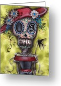 Skull Greeting Cards - Looking for Love Greeting Card by  Abril Andrade Griffith