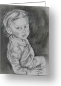 Little Boy Pastels Greeting Cards - Looking For Trouble Greeting Card by Sandra Valentini