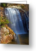 Grand Memories Greeting Cards - Looking Glass Falls Greeting Card by John Haldane