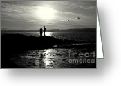 Silhouettes Greeting Cards - Looking Out Greeting Card by Dean Harte