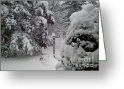 Snow Storm Prints Greeting Cards - Looking Out My Front Door Greeting Card by Carol Wisniewski