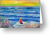 Mound Painting Greeting Cards - Looking Out Greeting Card by Patricia Taylor