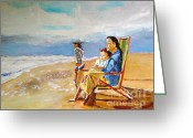 Beach Art Greeting Cards - Looking Out to See Greeting Card by Judy Kay