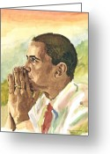 President Obama Greeting Cards - Looking Presidential Greeting Card by Mimi Boothby