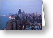 Twinkle Greeting Cards - Looking south over the city of Chicago from an elevated perspective Greeting Card by Purcell Pictures
