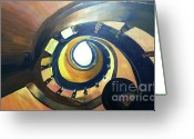 Spiral Staircase Painting Greeting Cards - Looking Up Greeting Card by Debbie Phillips Conejo