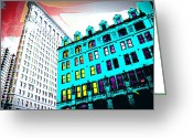 Tall Buildings Greeting Cards - Looking Up Greeting Card by Julie Lueders