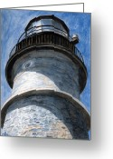 New England Lighthouse Greeting Cards - Looking Up Portland Head Light Greeting Card by Dominic White