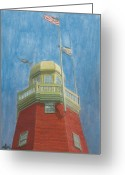 New England Lighthouse Greeting Cards - Looking Up Portland Observatory Greeting Card by Dominic White