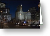 Speeding Taxi Greeting Cards - Looking west and East Wacker Drive in Chicago at the Wrigley Building at night Greeting Card by Purcell Pictures