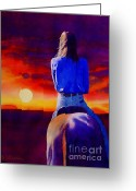 Cowgirl Greeting Cards - Looking West Greeting Card by Robert Hooper
