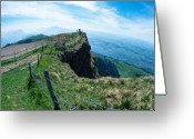 Alpine Panorama Greeting Cards - Lookout from Rigi Greeting Card by Carl Purcell