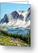 Snowy Range Greeting Cards - Lookout Lake Greeting Card by Mary Giacomini