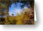 Red Autumn Trees Greeting Cards - Lookout Tower Greeting Card by Lutz Baar