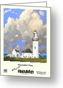 Seabirds Mixed Media Greeting Cards - Loop Head Lighthouse Greeting Card by Joe O Donnell