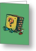 Mario Greeting Cards - Loose Brick Greeting Card by Budi Satria Kwan