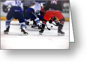 Hockey Action Greeting Cards - Loose Puck Greeting Card by Karol  Livote