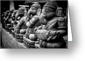 Row Greeting Cards - Lord Ganesha Greeting Card by Abhishek Singh & illuminati visuals