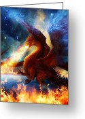 Fire Greeting Cards - Lord of the Celestial Dragons Greeting Card by Philip Straub