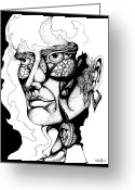 Tribal Drawings Greeting Cards - Lord of the Flies Study Greeting Card by Curtiss Shaffer