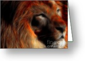 Portraits Mixed Media Greeting Cards - Lord of The Jungle Greeting Card by Wingsdomain Art and Photography