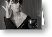 Expressive Greeting Cards - Loren with Wine Greeting Card by Irina  March