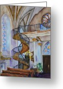 Spiral Staircase Painting Greeting Cards - Loretto Chapel - Santa Fe NM Greeting Card by Joy Skinner