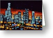 Skylines Painting Greeting Cards - Los Angelas by Black Light Greeting Card by Thomas Kolendra