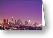 Copy-space Greeting Cards - Los Angeles At Dusk Greeting Card by Dj Murdok Photos