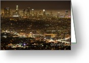 Thelightscene Greeting Cards - Los Angeles At Night Greeting Card by Bob Christopher
