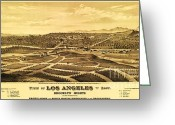 Early Drawings Greeting Cards - Los Angeles From The East Greeting Card by Pg Reproductions