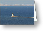 Fresnel Greeting Cards - Los Angeles Harbor Light - Angels Gate - California Greeting Card by Christine Till