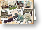 Famous Baseball Stadium Greeting Cards - Los Angeles Polaroid Collage Greeting Card by Ricky Barnard