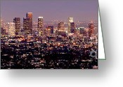 Landscapes Photo Greeting Cards - Los Angeles Skyline at Dusk Greeting Card by Jon Holiday