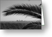 Palm Leaf Greeting Cards - Los Angeles Skyline From Hollywood Hills Greeting Card by Mike Shaffer