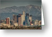Los Angeles Greeting Cards - Los Angeles Skyline Greeting Card by Neil Kremer