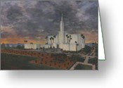 California Painting Greeting Cards - Los Angeles Temple Evening Greeting Card by Jeff Brimley
