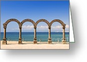 Beach Scenery Greeting Cards - Los Arcos Amphitheater in Puerto Vallarta Greeting Card by Elena Elisseeva