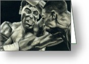 Sanchez Drawings Greeting Cards - Los Guerreros Greeting Card by Roberto Valdes Sanchez