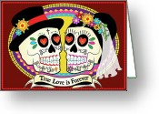 Folk Art Greeting Cards - Los Novios Sugar Skulls Greeting Card by Tammy Wetzel