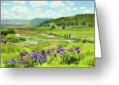 Railroad Track Greeting Cards - Los Penasquitos Looking East Greeting Card by Mary Helmreich