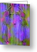 Santa Fe Digital Art Greeting Cards - Los Santos Cuates - The Twin Saints Greeting Card by Kurt Van Wagner