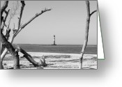 Sentinel Greeting Cards - Lost at Sea...Morris Island Lighthouse Greeting Card by Elena Tudor