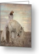 White White Horse Digital Art Greeting Cards - Lost Elves 2 Greeting Card by Dorota Kudyba